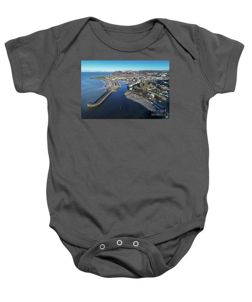 Aberystwyth Harbour From The Air In Winter Baby Onesie