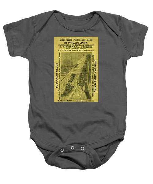 Advertisement For The First Toboggan Slide In Philadelphia Baby Onesie