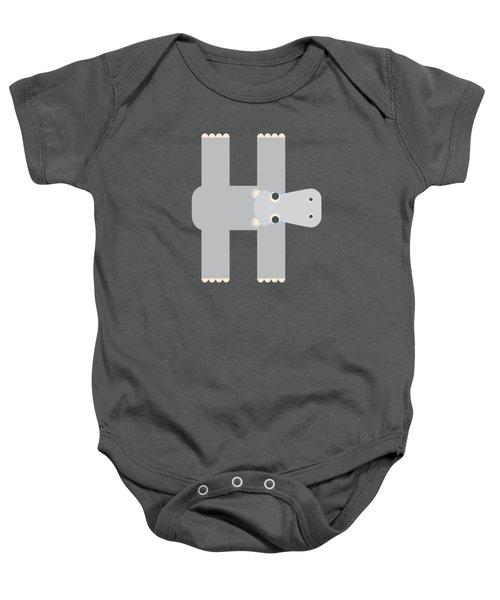 Animal Alphabet - Letter H - Hippo Monogram Baby Onesie