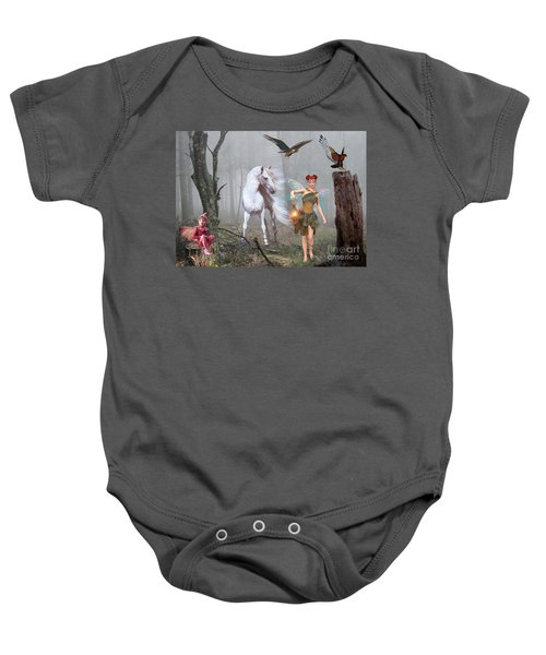Baby Onesie featuring the digital art As Darkness Falls by Morag Bates