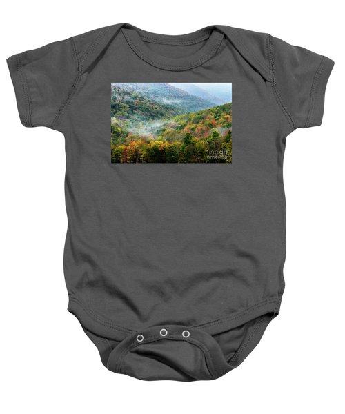 Autumn Hillsides With Mist Baby Onesie