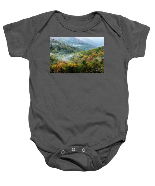 Autumn Hillsides With Mist Baby Onesie