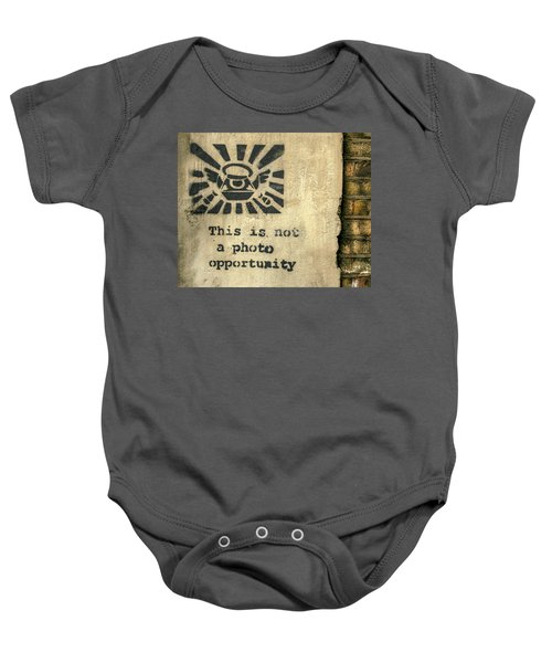 Banksy's This Is Not A Photo Opportunity Baby Onesie