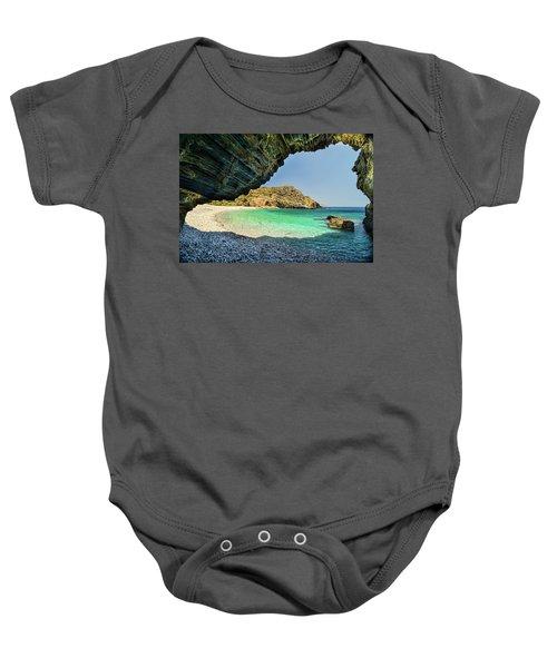 Almiro Beach With Cave Baby Onesie