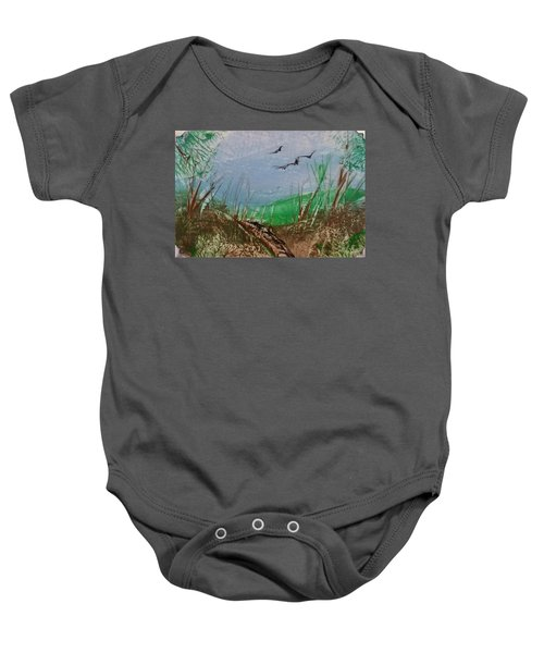 Birds Over Grassland Baby Onesie
