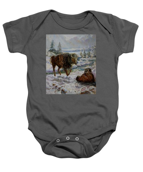 Bison In Yellowstone In The Winter Baby Onesie