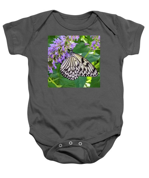 Black And White On Purple Baby Onesie