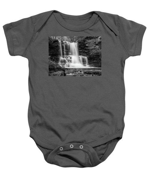 Black And White Photo Of Sheldon Reynolds Waterfalls Baby Onesie