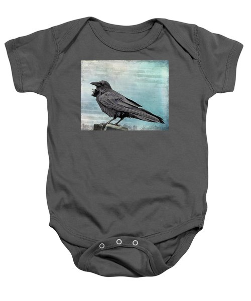 Baby Onesie featuring the photograph Blue Raven by Mary Hone