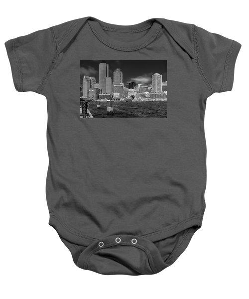 Boston Harbor Skyline Baby Onesie