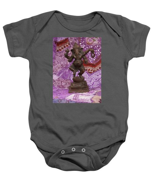 Bronze Ganesha Dancing, On Purple Baby Onesie