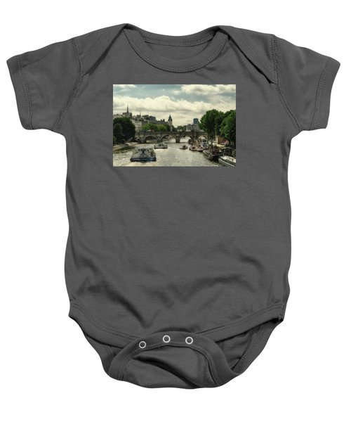 Busy Morning On The Seine Baby Onesie