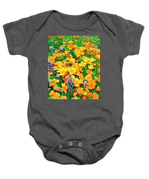 California Poppies And Betham Lupines Southern California Baby Onesie