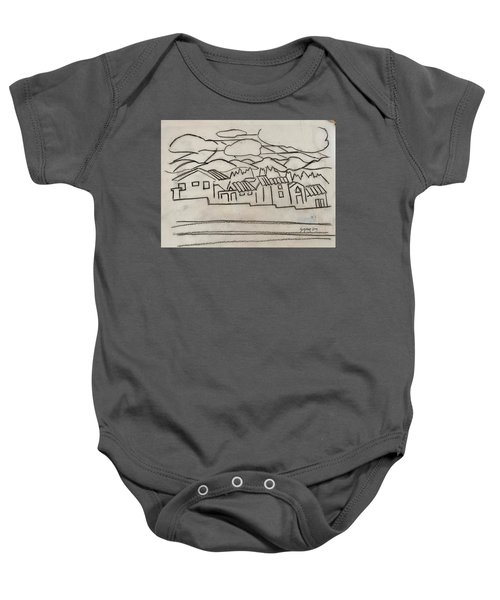 Charcoal Houses Sketch Baby Onesie