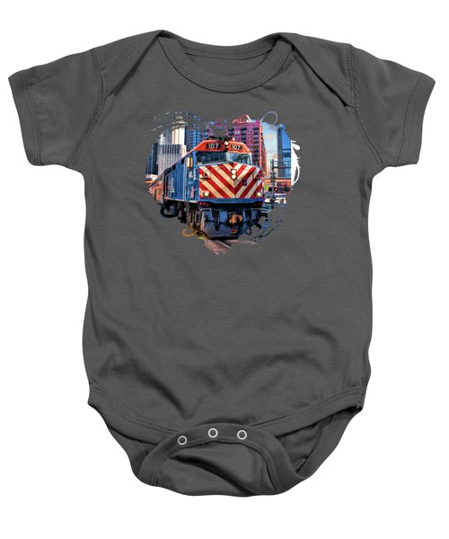 Chicago Metra Train Downtown Baby Onesie