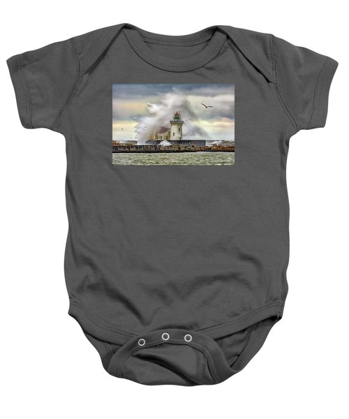 Cleveland Lighthouse Storm  Baby Onesie