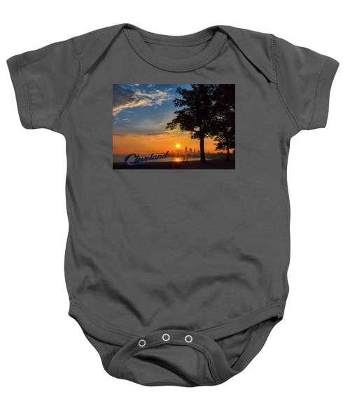Cleveland Sign Sunrise Baby Onesie