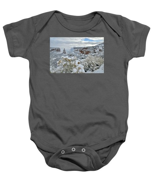 Clouds Break Over Snow Covered Independence Canyon Baby Onesie