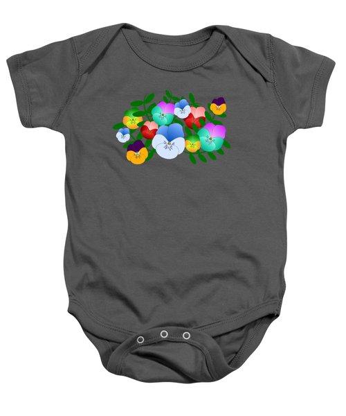 Colorful Pansies, Violets, Pansy, Viola Baby Onesie