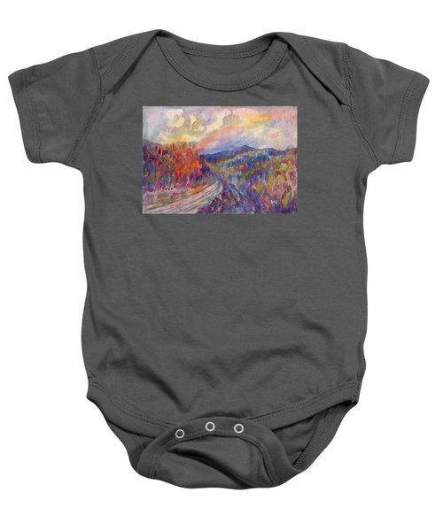 Country Road In The Autumn Forest Baby Onesie