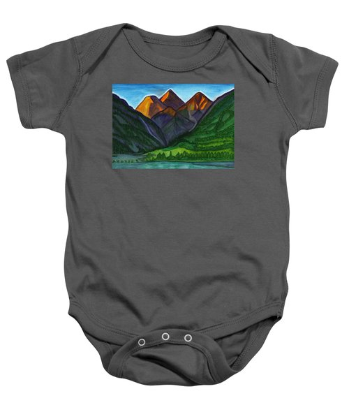 Evening Illumination Of Snowy Mountain Peaks With Waterfalls And A Mountain River Baby Onesie
