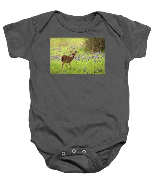 Deer In The Bluebonnets Baby Onesie