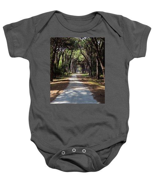Dirt Pathway In A Mediterranean Pine Forest Baby Onesie