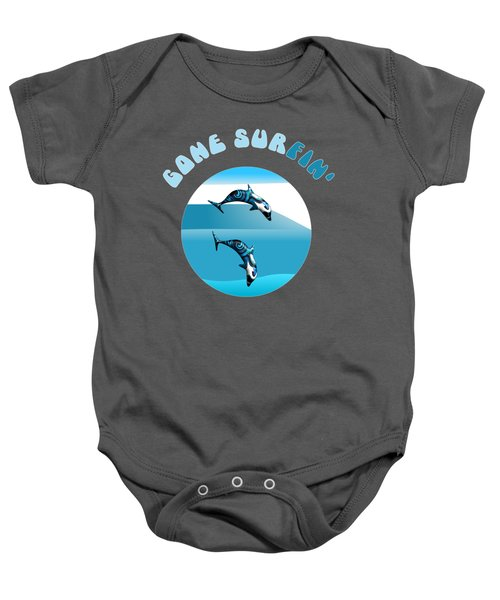 Dolphins Surfing With Text Gone Surfing Baby Onesie