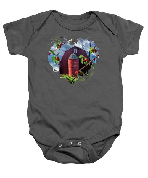 Door County Cherry Harvest Red Barn Baby Onesie