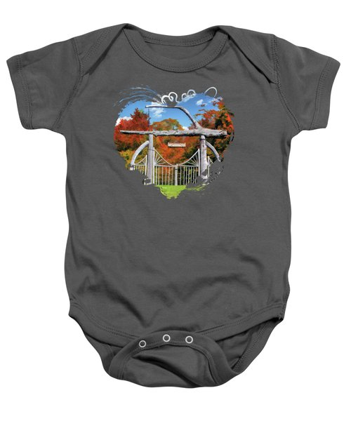 Door County Rock Island Japanese Garden Gate Baby Onesie