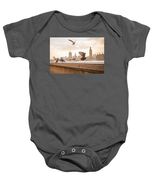 Doves And Seagulls Over The Thames In London Baby Onesie