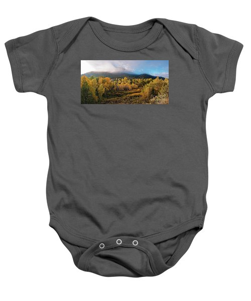 Early Morning Panorama Of Changing Aspens And Picacho Peak - Twomile Reservoir - Santa Fe New Mexico Baby Onesie