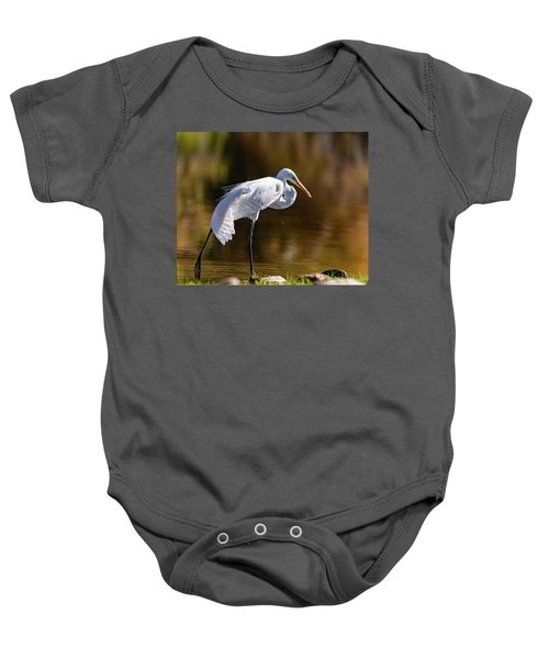 Baby Onesie featuring the photograph Egret Yoga by Mary Hone