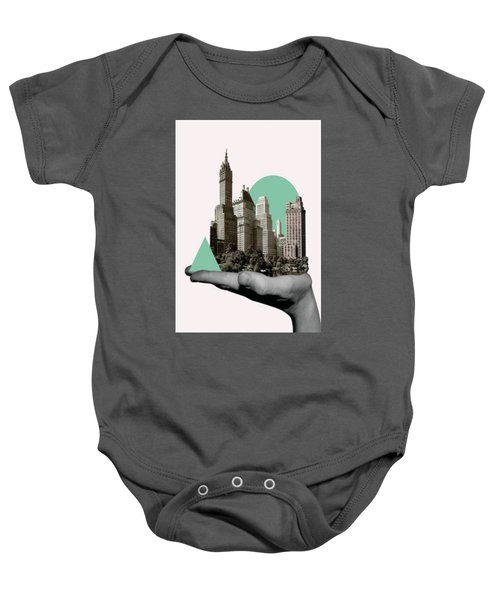 Exquisite Buildings On Palm Baby Onesie