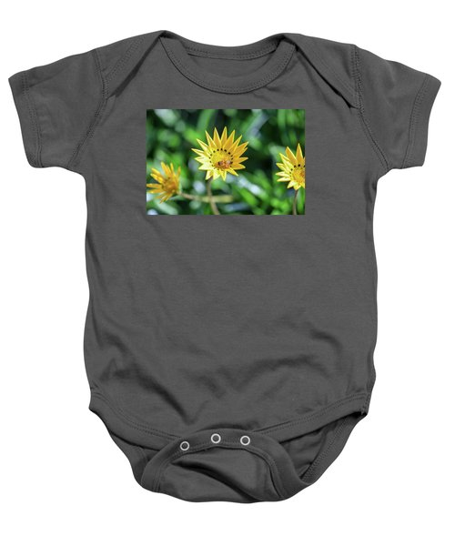 Yellow Flowers And A Bee Baby Onesie