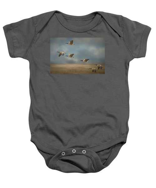 Geese, Coming In For A Landing Baby Onesie