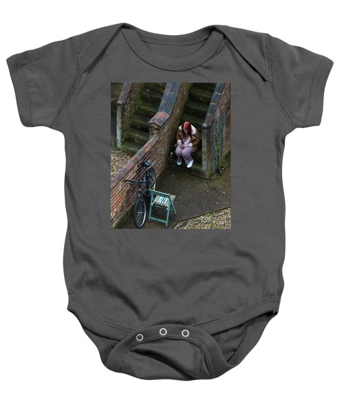 Girl On A Phone Baby Onesie