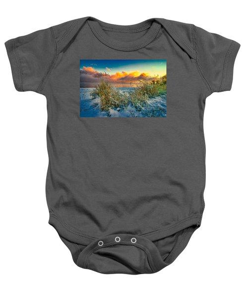 Grass And Snow Sunrise Baby Onesie