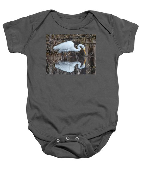 Great Egret In Breeding Plumage Dmsb0154 Baby Onesie