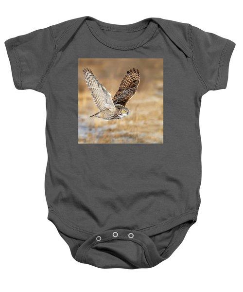Great Horned Owl In Flight Baby Onesie