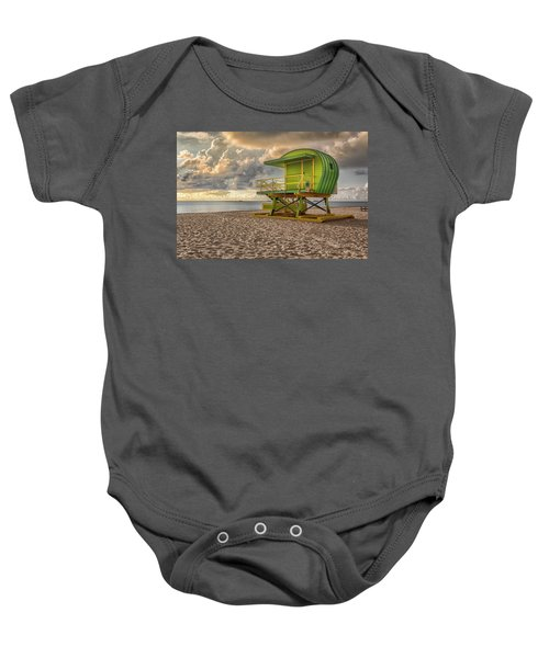 Green Lifeguard Stand Baby Onesie