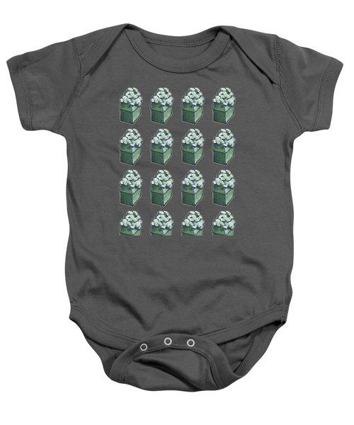Green Present Pattern Baby Onesie