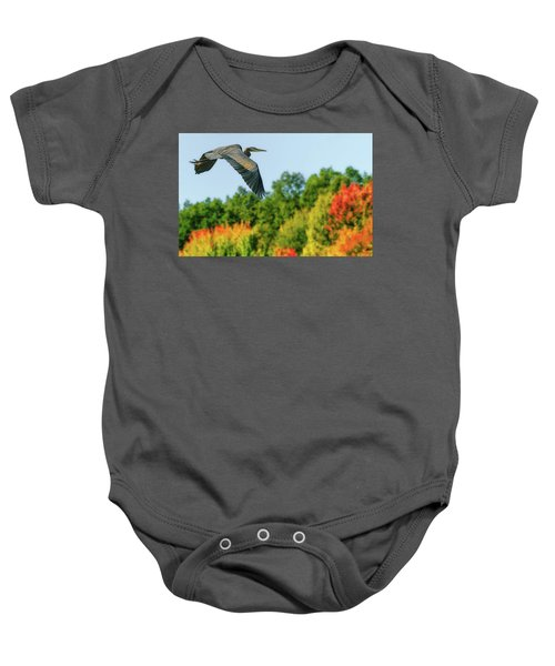 Heron In Autumn  Baby Onesie