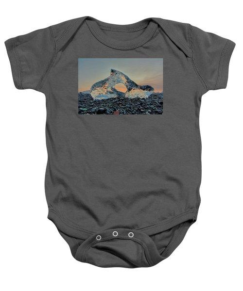 Iceland Diamond Beach Abstract  Ice Baby Onesie