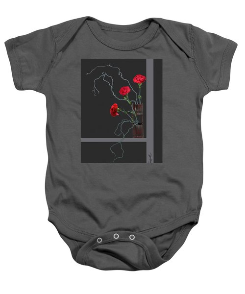 Red Carnations And Bamboo Vase Baby Onesie