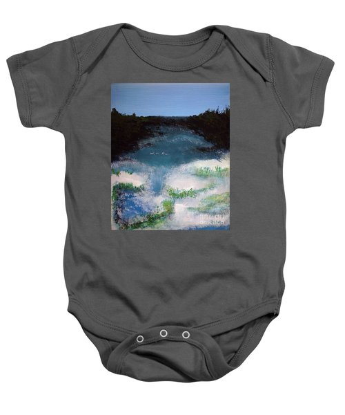 Island Escape Mixed Media Painting Baby Onesie