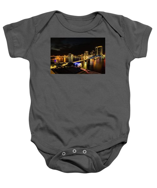 Jacksonville Skyline By Night Baby Onesie