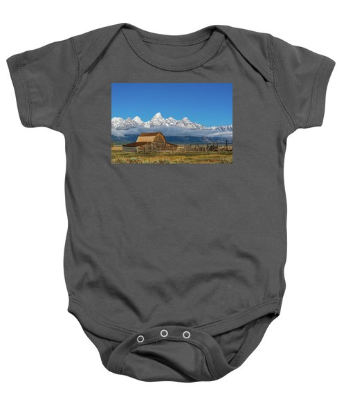 Baby Onesie featuring the photograph John Moulton Barn by Mary Hone