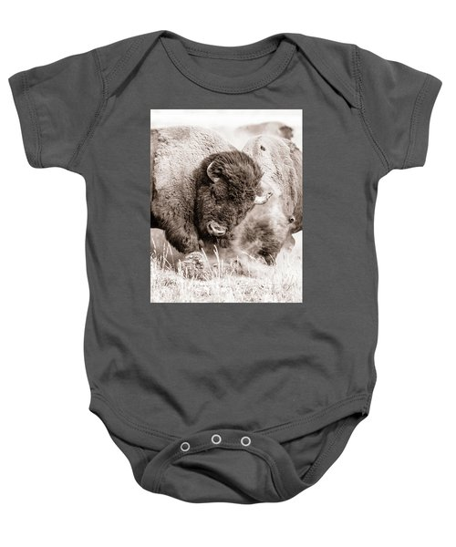 Baby Onesie featuring the photograph Kicking Up The Dirt by Mary Hone