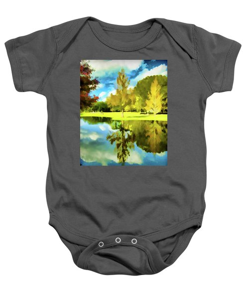 Lake Reflection - Faux Painted Baby Onesie